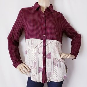 Oddy Red & Off White Plaid & Paisley Blouse